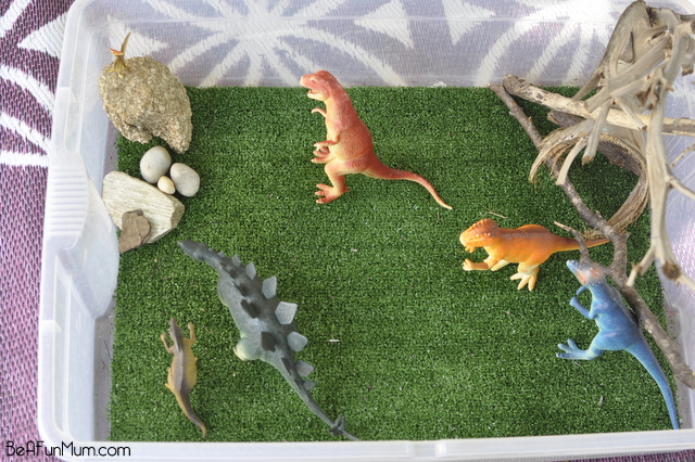 imaginative play scene -- dinosaur park