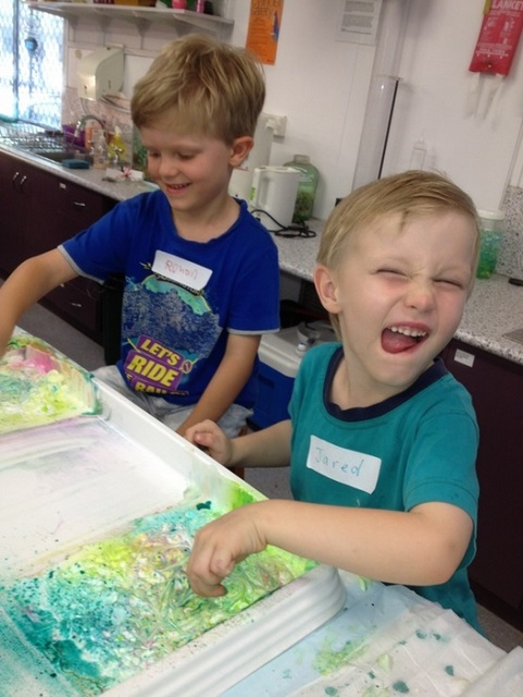 fun on school holidays for boys -- shaving cream painting
