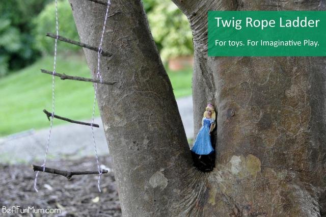 fun for kids -- twig rope ladder