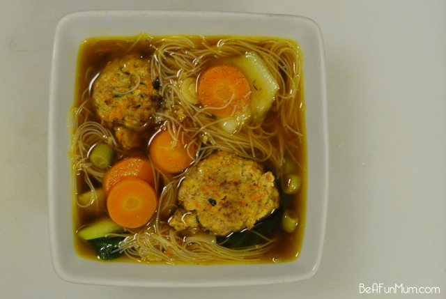 meatball and noodle soup