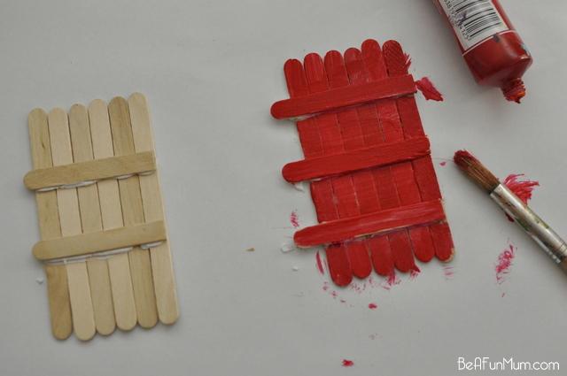 paddle pop door / popsicle stick doors -- paint door