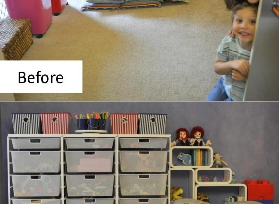 playroom makeover -- before and after