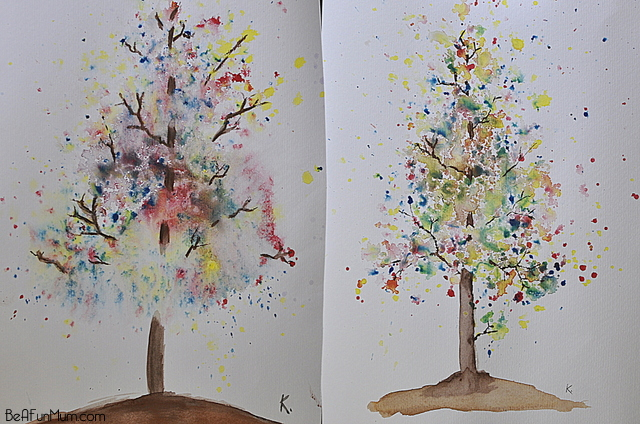 Autumn bloom tree watercolour experiment be a fun mum for Simple watercolor paintings for kids