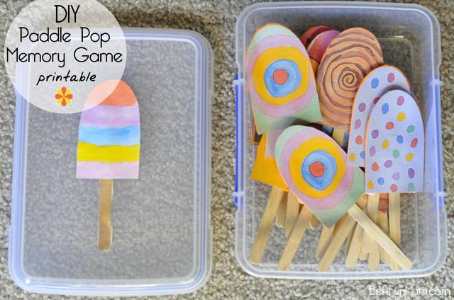 paddle pop stick memory game