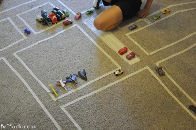 fun for kids -- masking tape roads