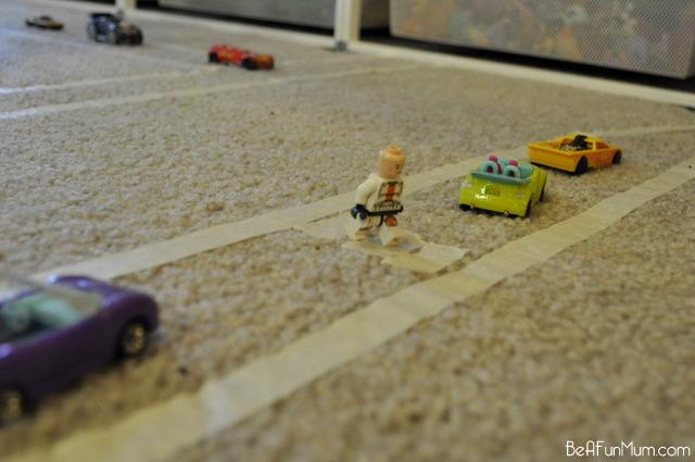 fun for kids -- masking tape road