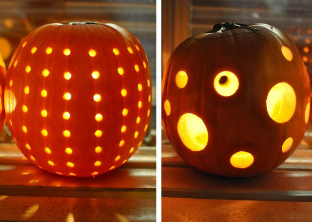 decorative pumpkin carving -- use a drill
