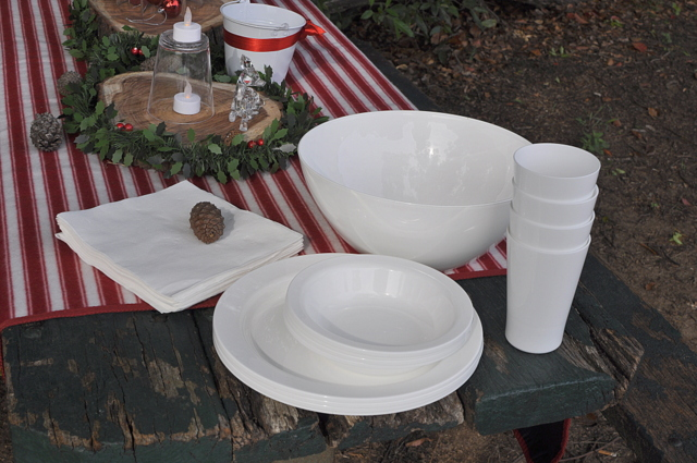 Outdoor Christmas Ideas - plastic white tableware - beafunmum.com