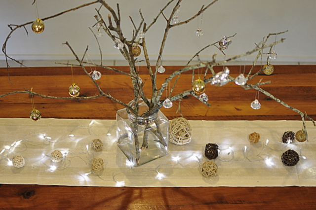 stick christmas tree christmas table inspiration beafunmumcom - Homemade Christmas Table Decorations