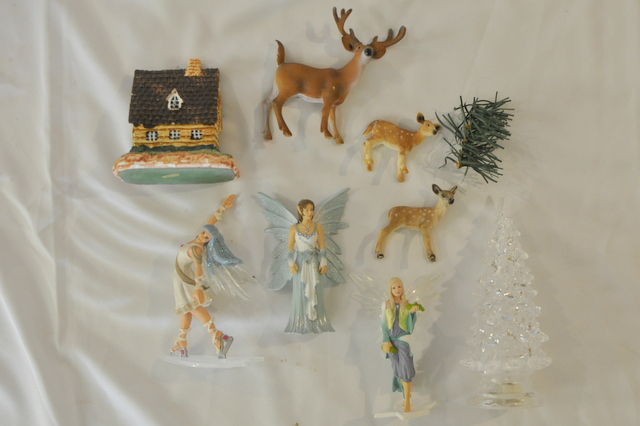 white christmas themed figurines