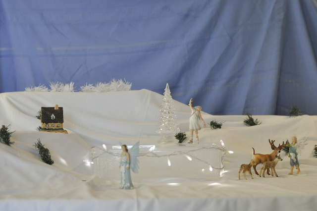 imaginative play - white Christmas snow scene