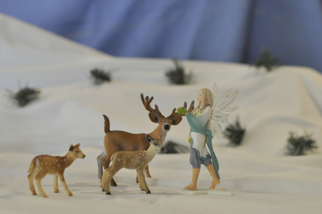 imaginative play for kids - white christmas snow scene - schelich figurine - fairy / deer