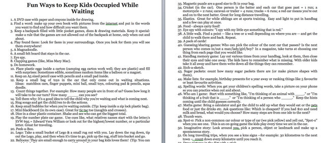 ways to keep kids occupied when waiting - download list