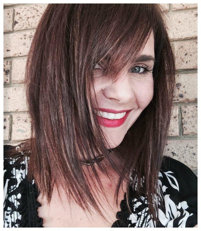 hair cut & colour -- dark brown with caramel highlights