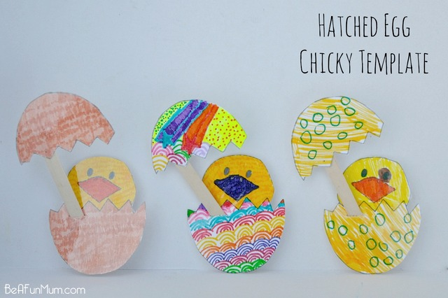 Easter Craft: hatched egg chicky template