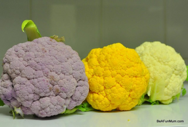 orange, purple and green cauliflowers