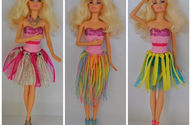 DIY (no sew) Ribbon Barbie Doll Skirt