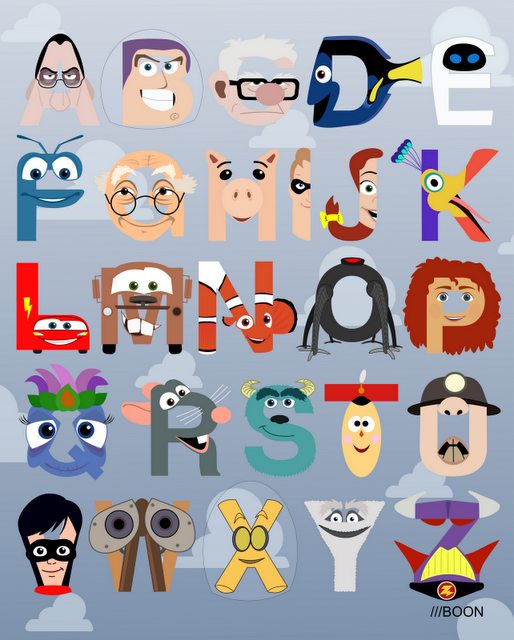 Pixar Alphabet by Mike Boon