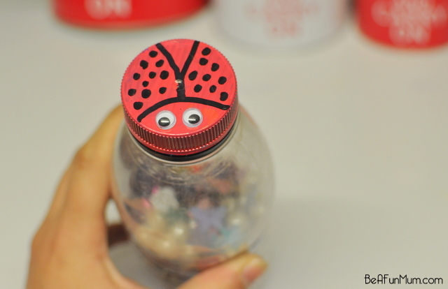 Make a music shaker - lady bird lid