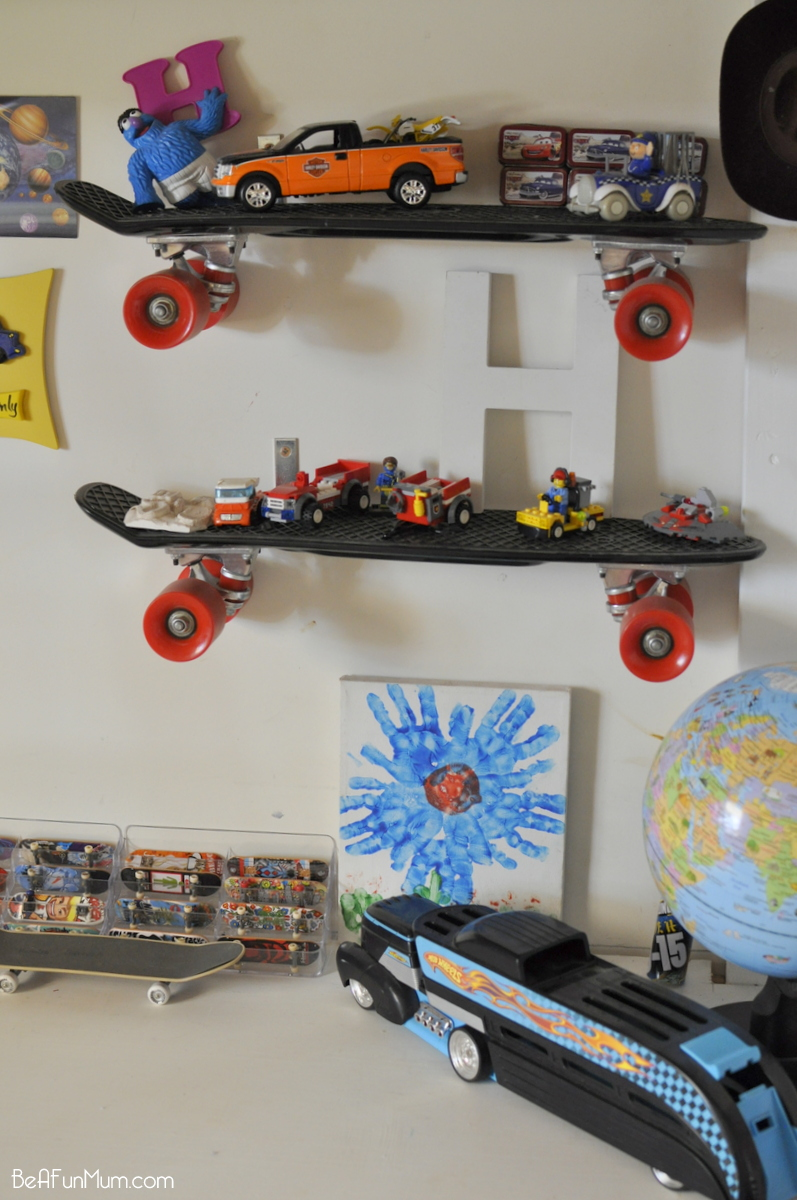 cool skateboard wall shelves ideas | DIY Skateboard Shelf | Be A Fun Mum