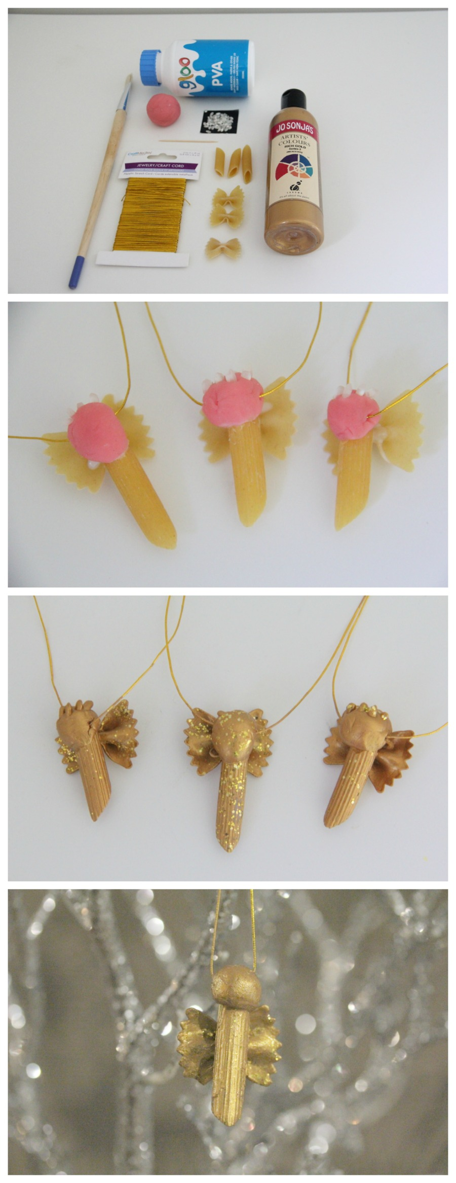 Christmas Crafts - Pasta Angel Decoration