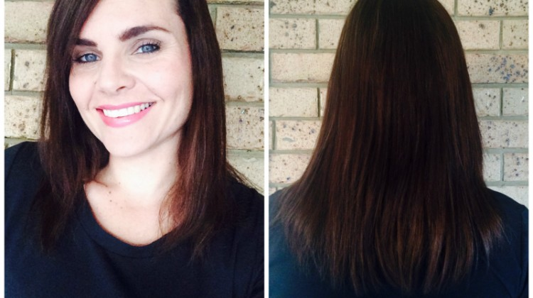 Hair cut and colour - dark golden brown - mid length