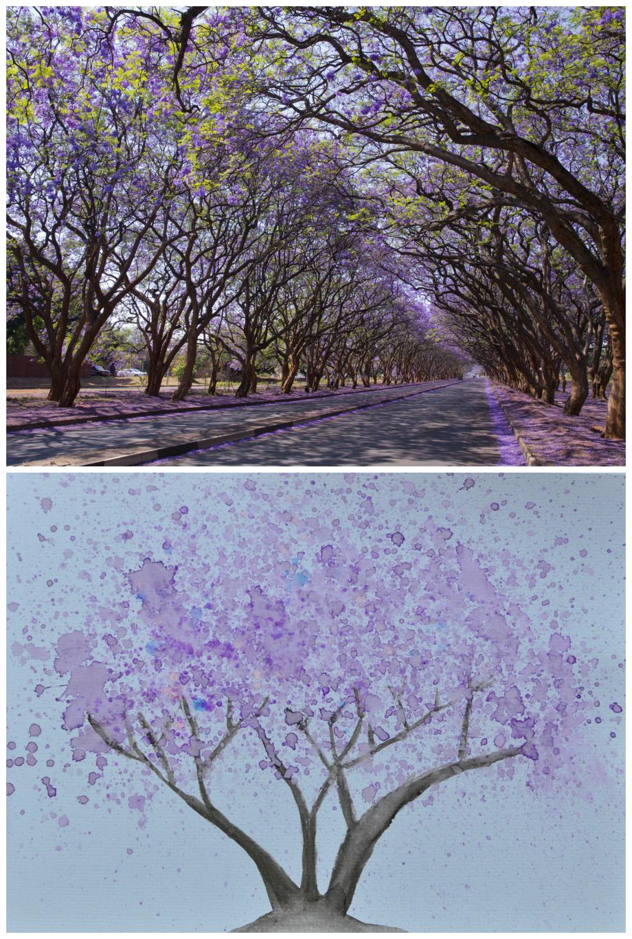 Jacaranda Tree Easy Watercolour Painting Tutorial for Kids