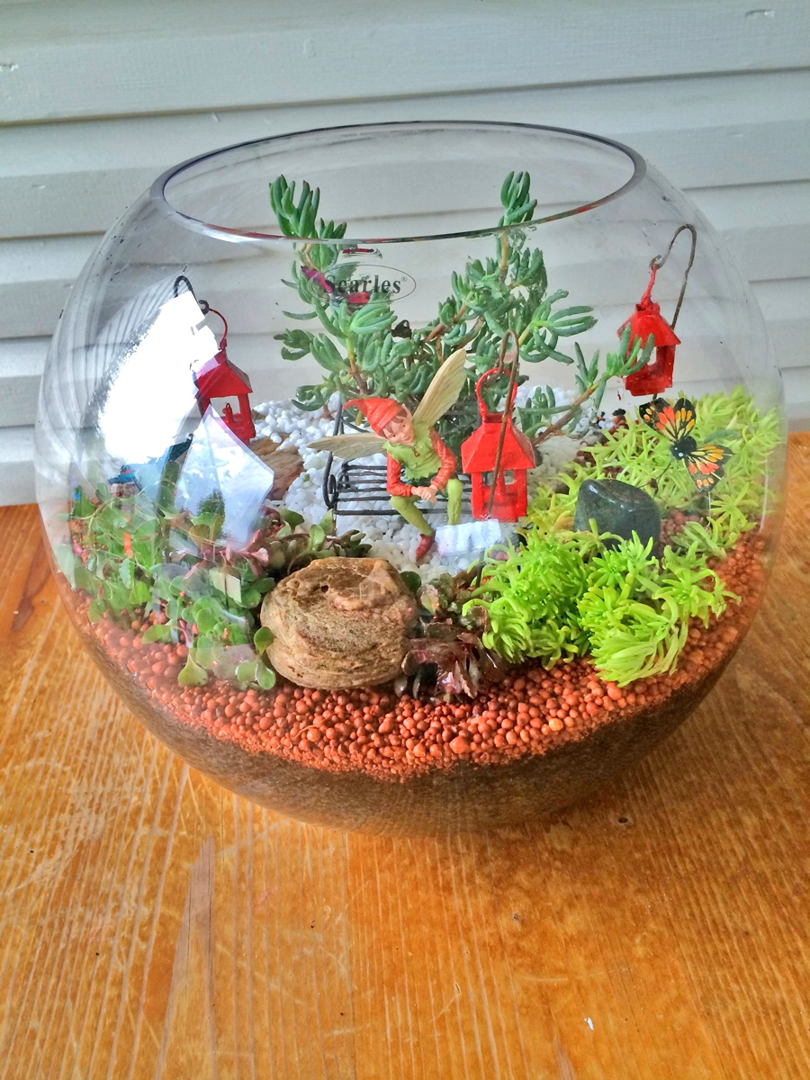 Miniature-Terrarium-Fairy-Garden-finished-in-a-large-round-glass-fish-bowl