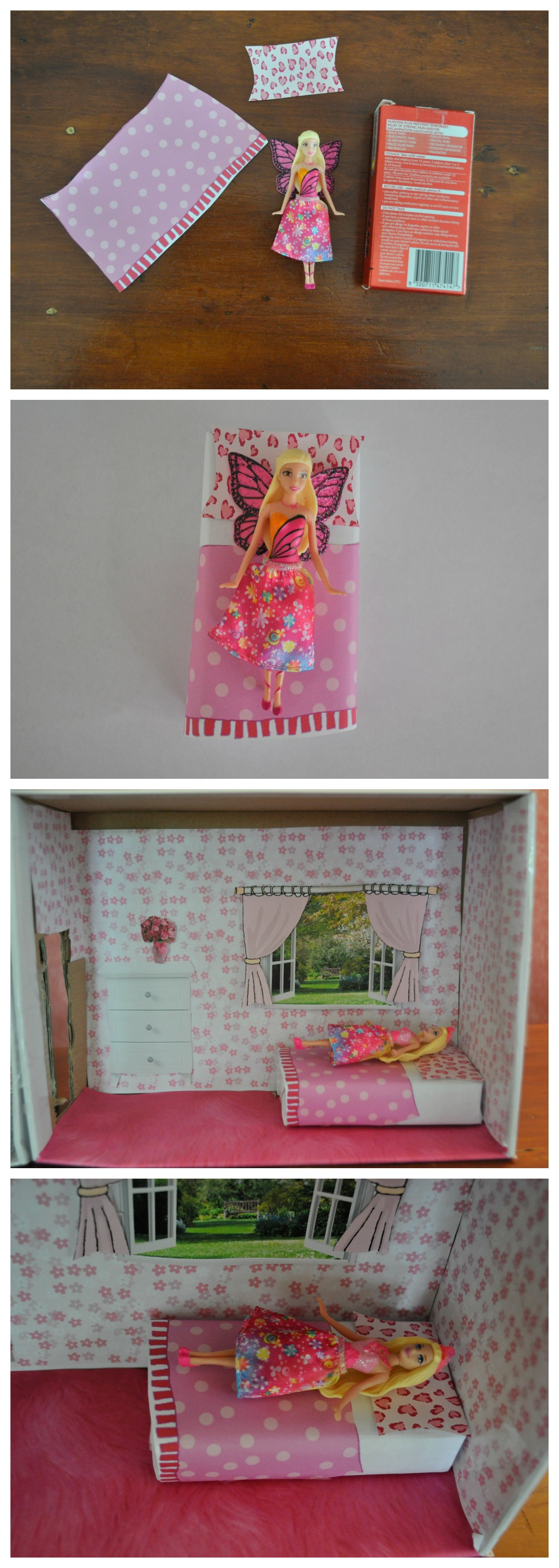 Small doll bed using a pain medication box