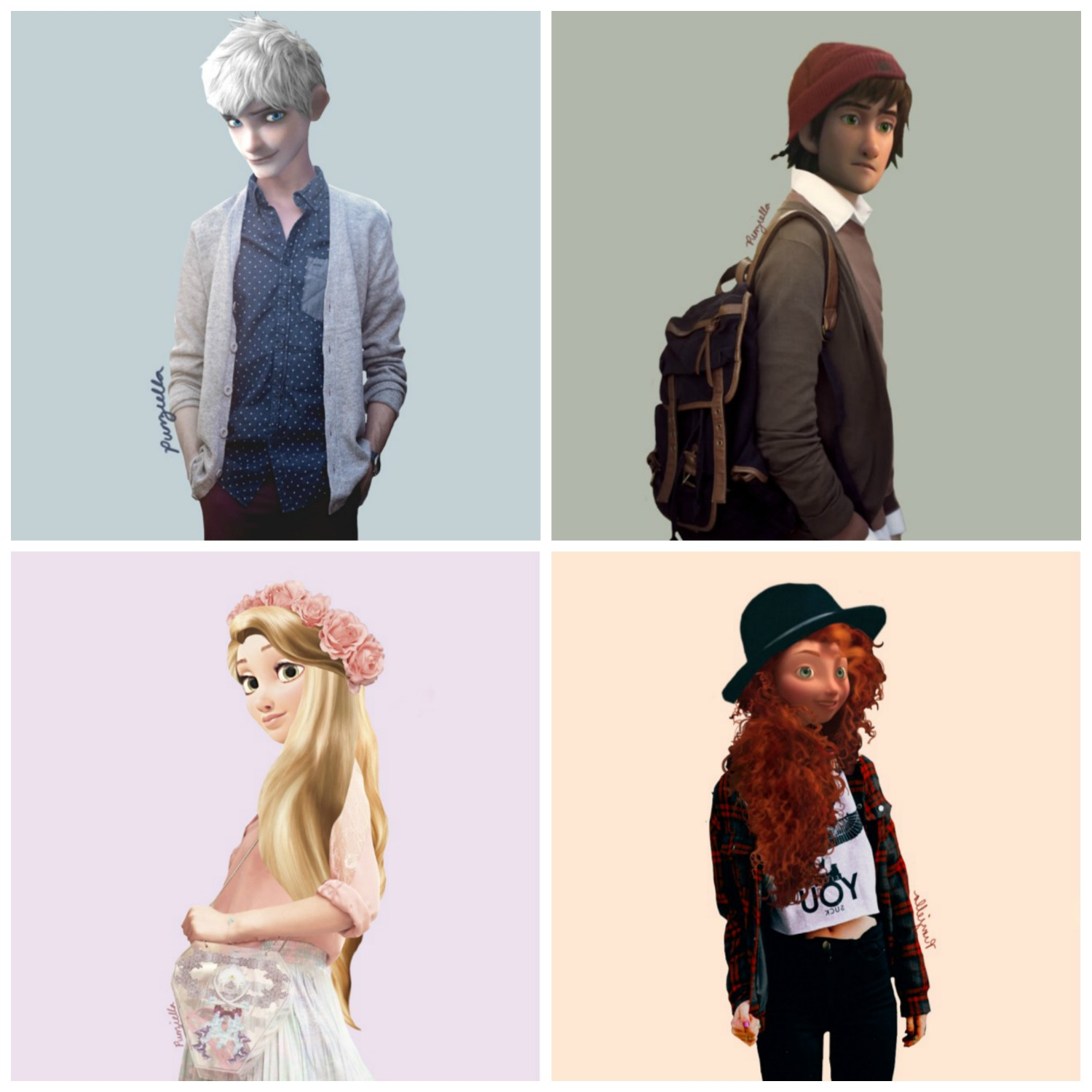 Jack Frost from Rise of the Guardians, Hiccup from How to Train Your Dragon, Rapunzel from Tangled,  Merida from Brave