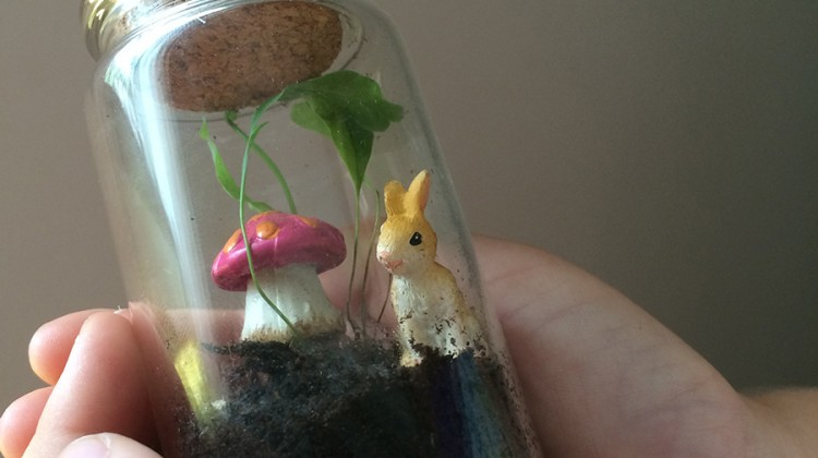 Easter Miniature Terrarium Sugar Free Nature Gift bunny mushroom in a jar
