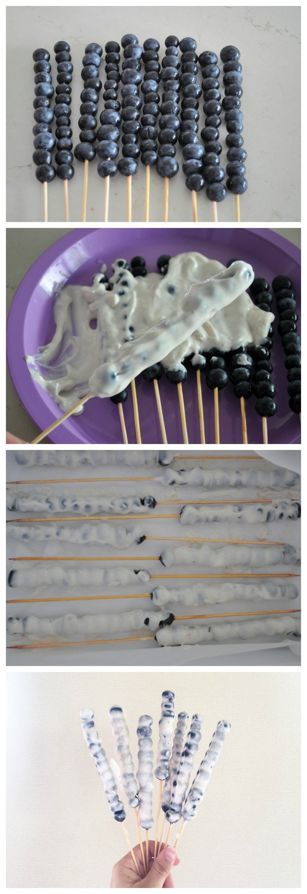 Frozen Blueberry & Yoghurt Kebabs