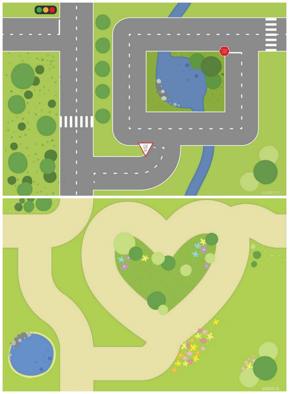 Printable Play Mat: Garden & Road