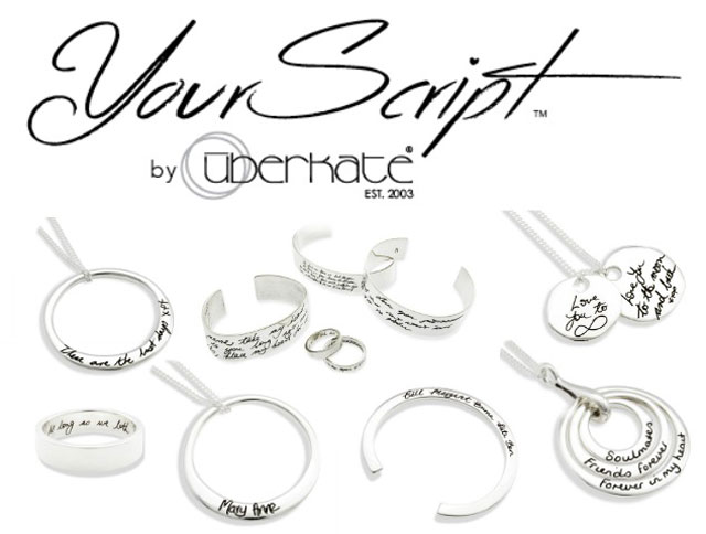 Uberscript - handwriting stamped silver jewellery