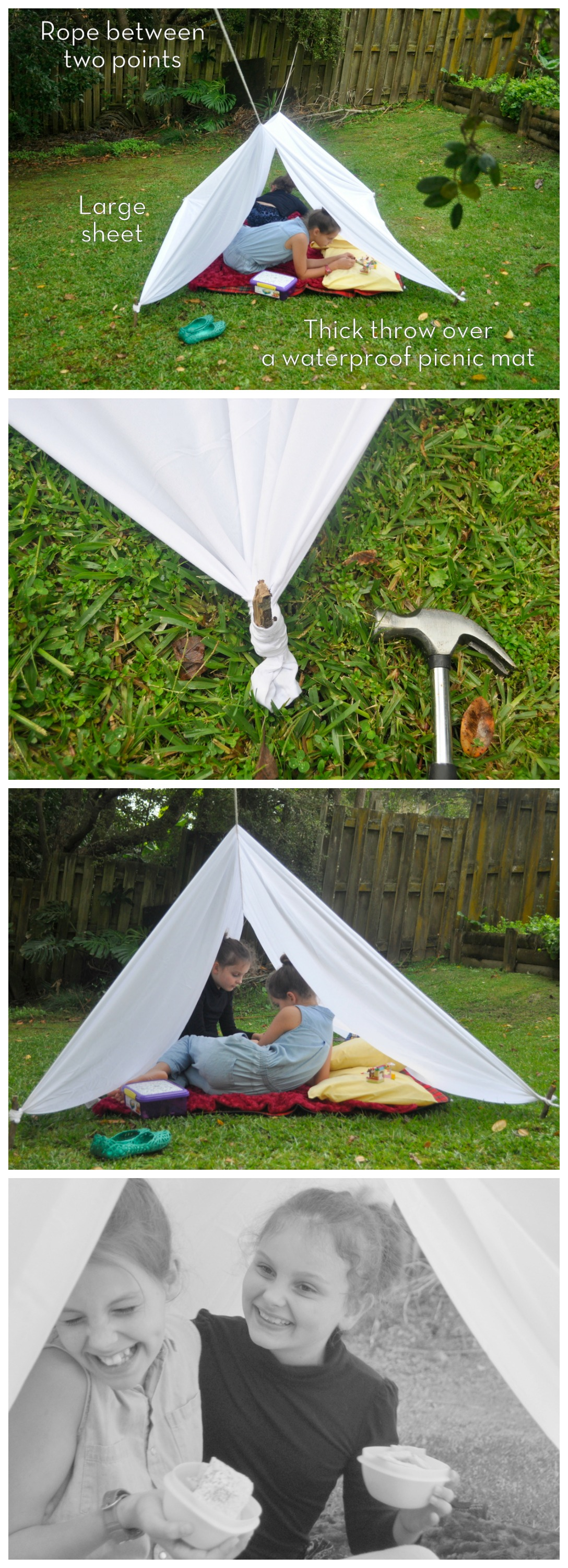 Backyard sheet tent