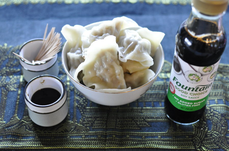 Dumplings with soy sauce