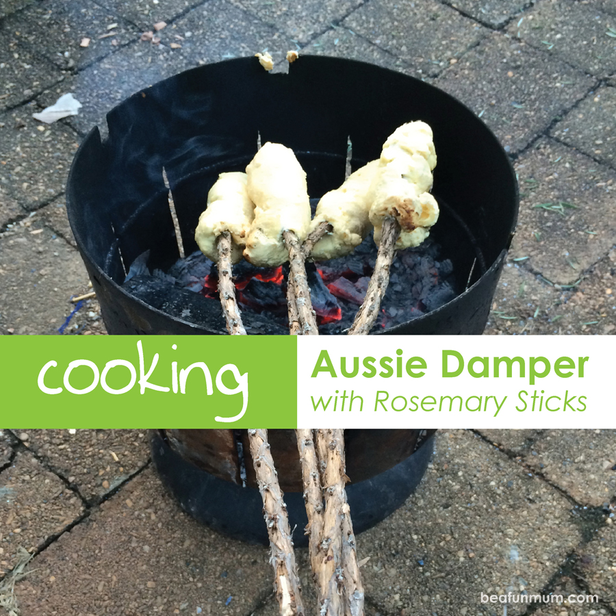 Damper on a stick green tree twists Cooking aussie damper on a rosemary stick