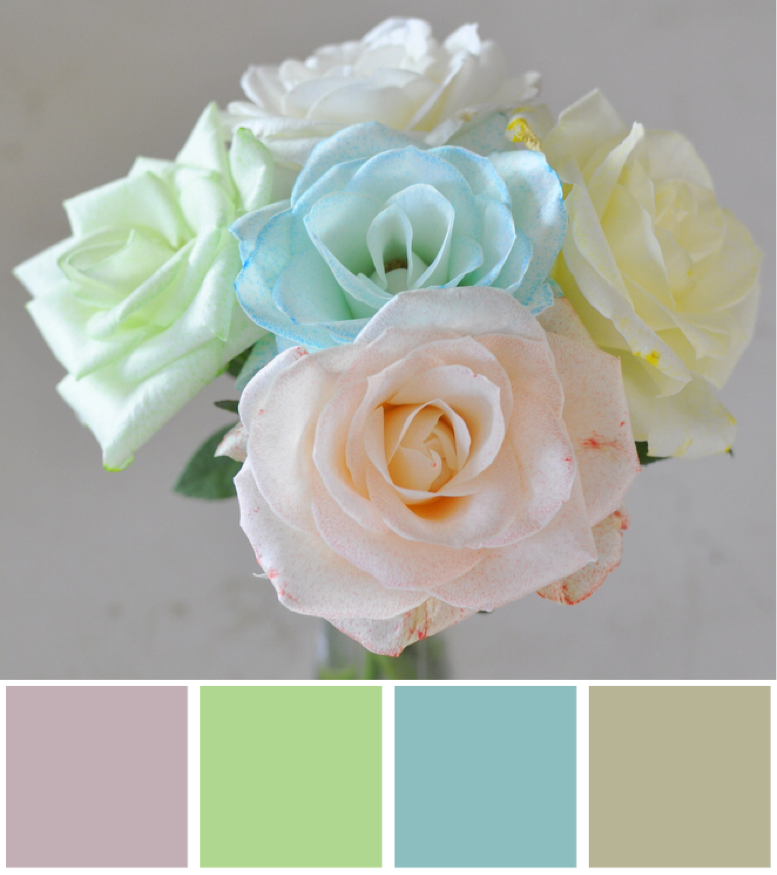 Rainbow flowers - colour palette - dusky pink, lime green, dusky blue, gold
