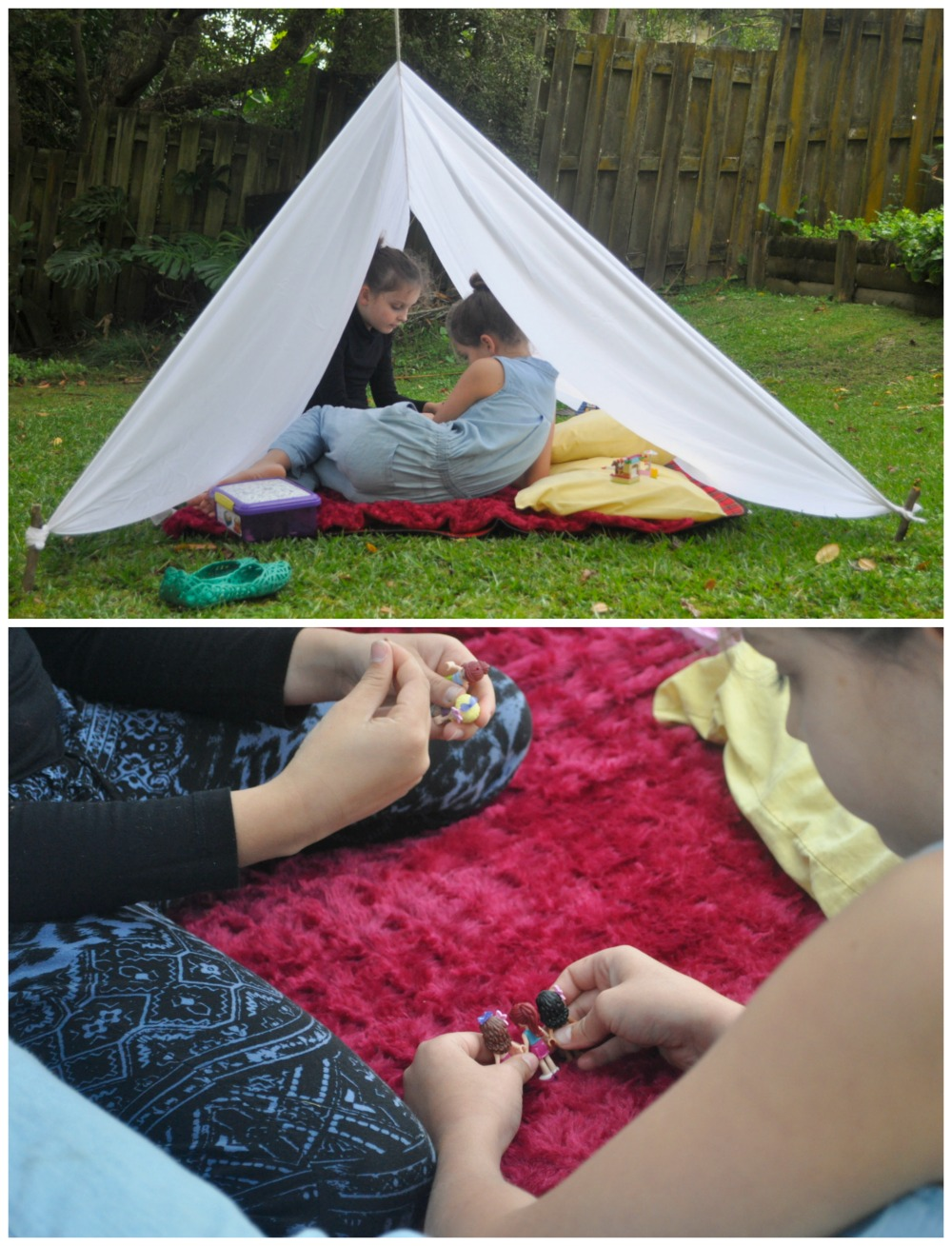 Lego in a backyard tent