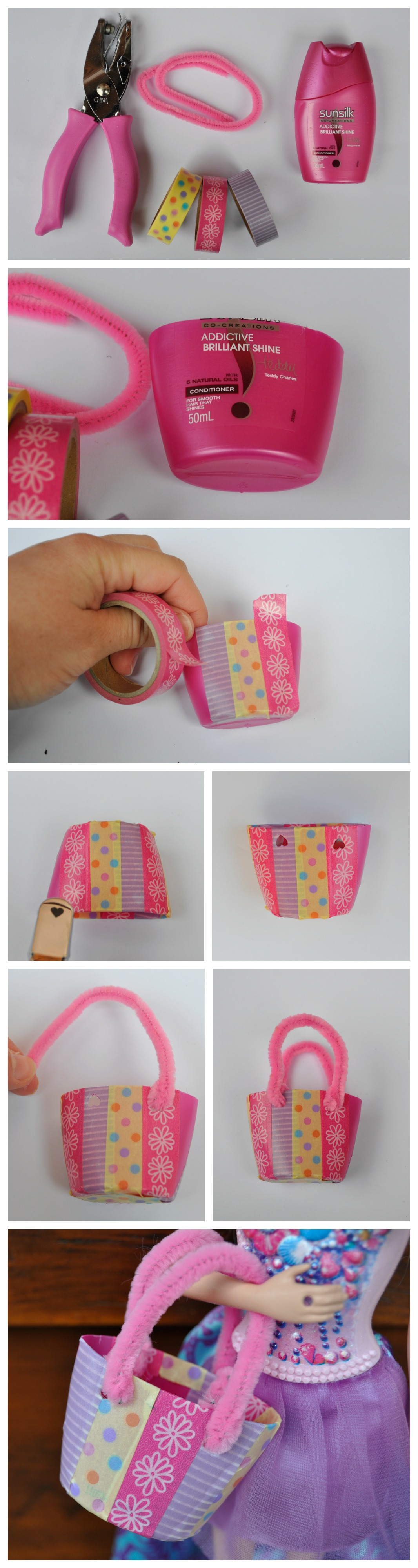 Make a Barbie Tote bag (that fits in a lot of cute things inside) out of a small bottle