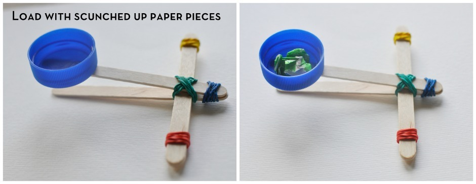 Paddle Pop Stick Catapult - load with scrunched up paper pieces
