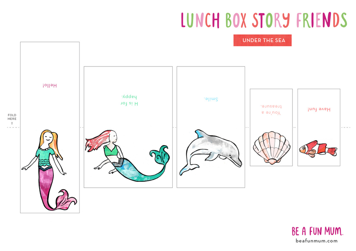 Lunch Box Story Friends - Under the Sea Theme - cute little messages to include in the lunch box