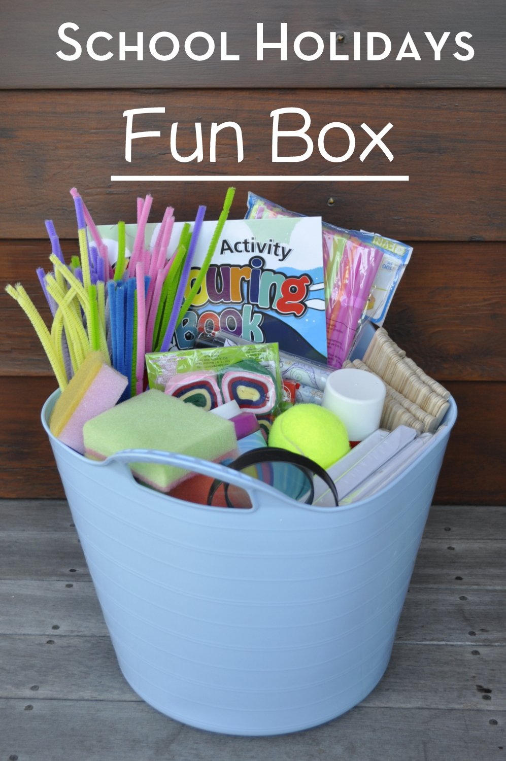 Make a school holiday fun box to keep the kids occupied. See what is in it here and over 80 activity ideas