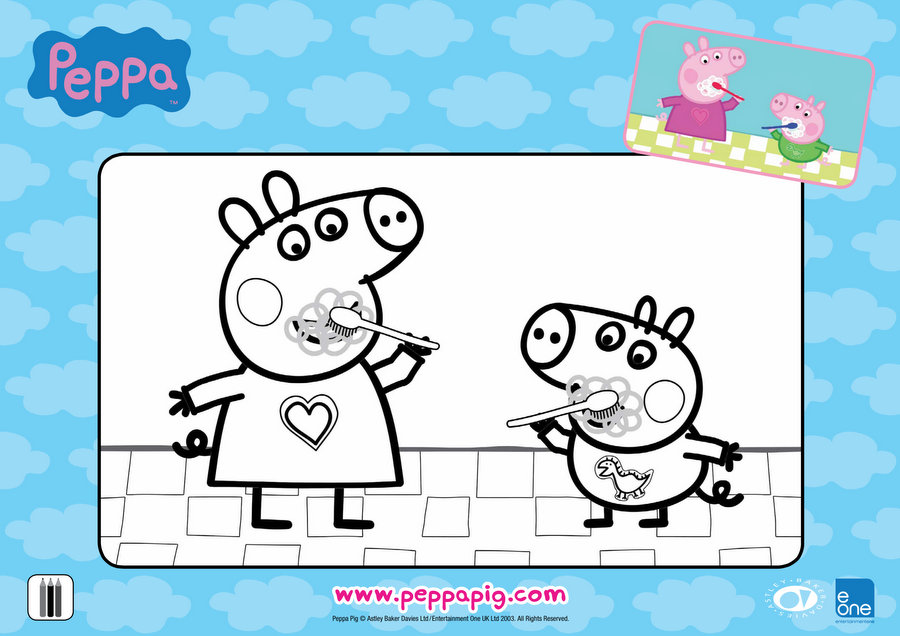 Peppa Big Bedtime Colouring Sheet