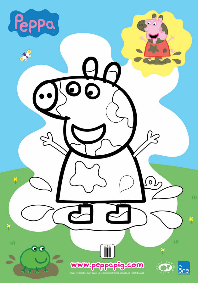 Peppa Muddy Puddles Colouring Sheet