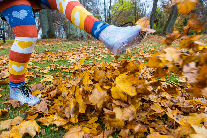 Kicking Leaves in Autumn