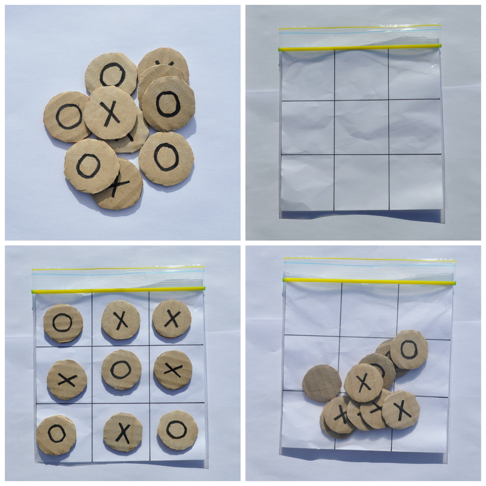 Use a zip lock bag to make a travel naughts and crosses board