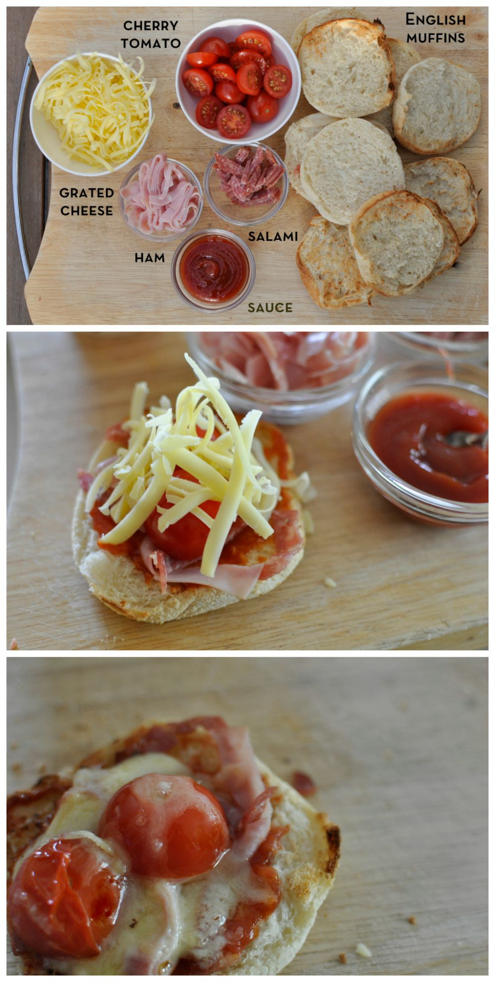 Here's a fun snack idea for kids - do mini pizza with English muffins