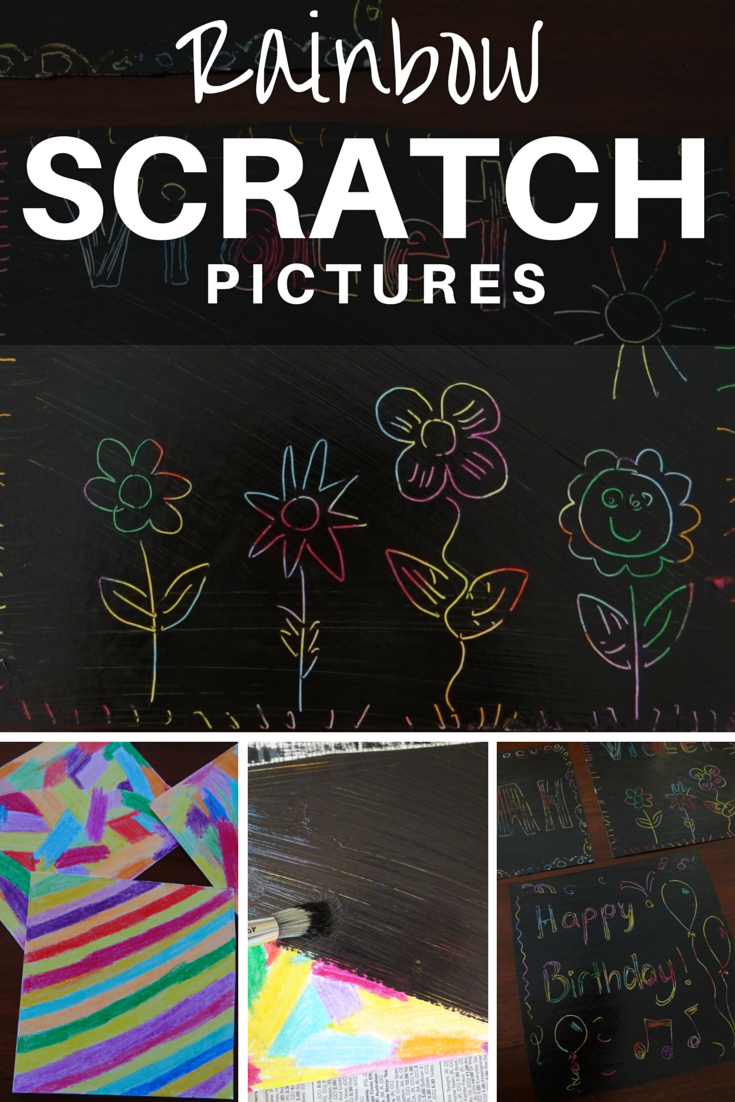 Make your own rainbow scratch pictures