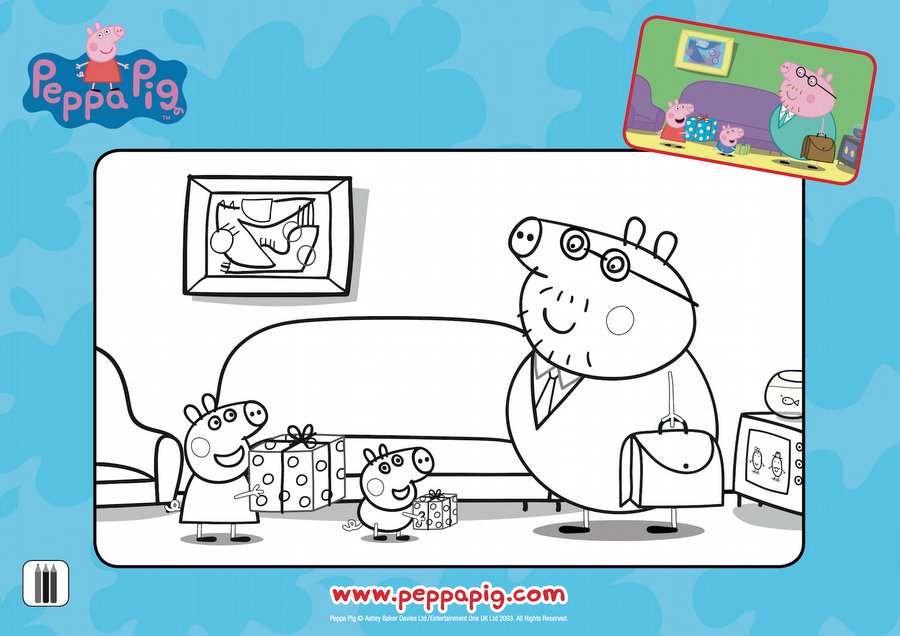 Peppa Pig Father's Day Colouring Page